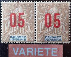 R2452/743 - 1912 - COLONIES FR. - SULTANAT D'ANJOUAN - PAIRE - N°25 Tenant Au N°25A (chiffres Espacés) NEUFS* - Unused Stamps