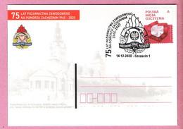 Poland 2020,2 Sided Entire, Postcard (1),Szczecin,fire Brigade Pompier Firemen - Firemen