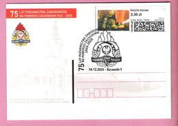 Poland 2020,2 Sided Entire, Postcard (2),Szczecin,fire Brigade Pompier Firemen - Firemen