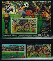 Nord Korea, Football, 3-D 1982, 3 Stamps+ Block 40 Euro - 1982 – Spain