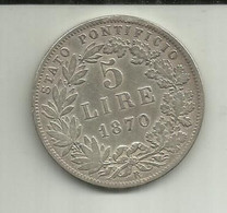 5 Liras 1870R Vaticano Silver Rara - Vatican