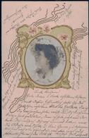 Gest. Feine Dame Jugendstil Prägekarte 1904 - Non Classificati