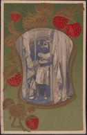 Gest. Jugendstilallegorie Kind Erdbeeren Prägekarte 1910 - Non Classificati