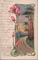 Gest. Jugendstil Blume Prägekarte 1904 - Non Classificati