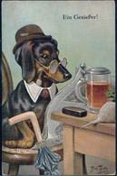 * Hund Personifiziert Sign. A. Thiele Serie 2637, Min. Best. - Thiele, Arthur
