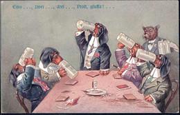 * Hunde Personifiziert Sign. A. Thiele Serie 606 - Thiele, Arthur