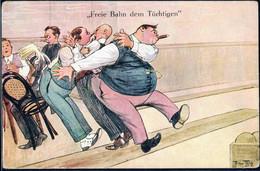 * Kegeln Sign. A. Thiele Serie 1587, Ecken Best. - Thiele, Arthur