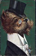 Gest. Hund Personifiziert Sign. A. Thiele TSN 806, Etwas Best. 1917 - Thiele, Arthur