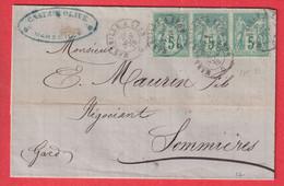 N°75 BANDE DE 3 AMBULANT MARSEILLE A LYON SOMMIERES GARD 1878 - Railway Post