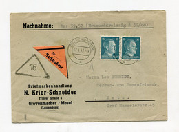 !!! LETTRE DE GREVENMACHER (LUXEMBOURG) POUR METZ DE 1943 - Brieven En Documenten