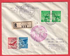 ZEPPELIN HINDENBURG MAUREN LIECHTENSTEIN 1936 RECOMMANDE FRANKFURT - Air Post