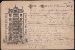 Gest. O-1000 Berlin Gasthaus Spaten, Vorläufer 1894, Oben Links Eckabriß 4mm, Briefmarke Entfernt, Best. - Non Classificati