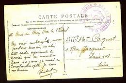 """Cachet Violet """" MARINE FRANCAISE - SERVICE A LA MER """" - Sur CP En Franchise : Le """"BIEN-HOA"""" Transport De 1° Classe - Posta Marittima"""