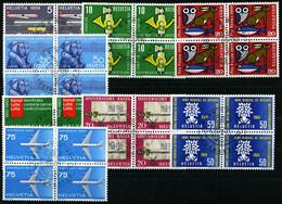 SCHWEIZ BUNDESPOST 668-71,692-95  VB O, 1959/60, Jahresereignisse In Viererblocks Mit Zentrischen Ersttagsstempeln, Prac - Gebraucht
