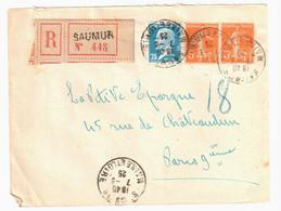 SAUMUR Maine Et Loire Lettre Recommandée 75c Pasteur 5c Semeuse Orange Yv 158 177 Ob 1925 - Covers & Documents