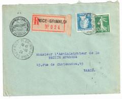 NICE GRIMALDI Entête The Commercial Cable Company Lettre Recommandée 75c Pasteur 10c Semeuse Vert Yv 159 177 Ob 1924 - Covers & Documents