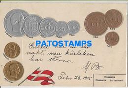 156710 DENMARK DANMARK ART EMBOSSED MULTI COIN & FLAG CIRCULATED TO URUGUAY POSTAL POSTCARD - Danimarca