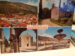 Cartolina Saluti Da Maniago Prov Pordenone Vedutine 1967, Chiesetta Del Castello, Il Duomo, Fontana - Pordenone