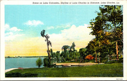 Louisiana Lake Charles Scene On Lake Calcasieu Skyline Of Lake Charles In Distance Curteich - Other