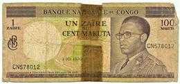 CONGO Democratic Republic - 1 Zaire = 100 Makuta - 1.10.1970 - Pick: 12.b - Sign. 2 - Democratic Republic Of The Congo & Zaire