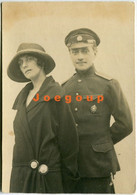 Old Photo Portrait Young Woman And Military - War, Military