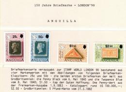 205Z * ANGUILLA SATZ * 4 FEINE WERTE * 150 JAHRE BRIEFMARKEN * POSTFRISCH **!! - Anguilla (1968-...)
