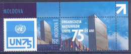 2020. Moldova, 75y Of UNO, Stamp With Label, Mint/** - Moldawien (Moldau)