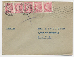 MAZELIN 1FR BANDE DE 5 LETTRE PARIS 13.1.1949 TARIF IMPRIME - 1945-47 Ceres De Mazelin