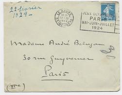 N° 140 LETTRE COVER FLIER JEUX OLYMPIQUES PARIS LE HAVRE 22.II.1924 SEINE INFRE - Mechanical Postmarks (Advertisement)