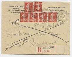 N° 138X6 LETTRE REC VILLEFRANCHE ALPES MARITIMES 26.3.1921 POUR BEAULIEU + RETOUR - 1906-38 Säerin, Untergrund Glatt