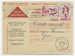 GARGANTUA 6FRX2 CARTE CONTRE REMBOURSEMENT MECANIQUE RBV NIMES GARE 24.3.1954 POUR SAUMANE GARD - 1921-1960: Modern Period