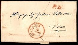 ANTICHI STATI ITALIANI - Lombardo Veneto - Milano (rosso - P.ti R2) + P.D. - Letterina Per Torino Del 10.4.1853 - Tassat - Unclassified