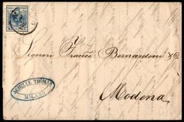 ANTICHI STATI ITALIANI - Lombardo Veneto - 45 Cent (22) Carta A Macchina - Lettera D'archivio Da Milano A Modena Del 25. - Unclassified