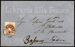 ANTICHI STATI ITALIANI - Lombardo Veneto - 5 Soldi (33) - Busta Pubblicitaria (Libreria Alla Fenice) Da Venezia A Bassan - Unclassified
