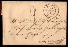 ANTICHI STATI ITALIANI - Sardegna - Godano (P.ti 12) - Letterina Per Levanto Del 25.9.51 - Tassata - Unclassified