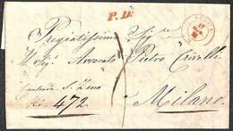 ANTICHI STATI ITALIANI - Sardegna - Genova (rosso - Noto Solo In Franchigia) + PD - Raccomandata Per Milano Del 17.5.185 - Unclassified