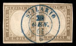 ANTICHI STATI ITALIANI - Sardegna - St. Ilario (azzurro - Punti 10) - Coppia Orizzontale Del 10 Cent (14Be) Usata Il 20. - Unclassified