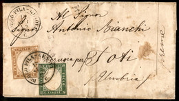 ANTICHI STATI ITALIANI - Sardegna - Borgo Pila Genova (P.ti 11) - 10 Cent (14E) + 5 Cent (13E) - Letterina Per Todi Del  - Unclassified