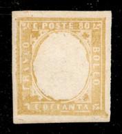 ANTICHI STATI ITALIANI - Sardegna - 1859 - Prova - Senza Effigie - 80 Cent (17Aa) - Gomma Integra - Cert. AG - Unclassified