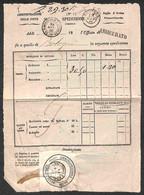 ANTICHI STATI ITALIANI - Sardegna - Foglio D'Avviso Provvisorio - Spedizione Di Lettera Assicurata Per Bologna Del 13.6. - Unclassified