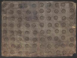 ANTICHI STATI ITALIANI - Toscana - 1854 - Segnatasse - 2 Soldi (1) - Intero Foglio Di 80 - Formato Orizzontale (10x8) -  - Unclassified