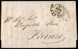 ANTICHI STATI ITALIANI - Toscana - Firenze 26.4.1851 Annullato Con Muto A Ragno (P.ti R1) Al Retro Di Lettera Da Livorno - Unclassified