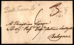 ANTICHI STATI ITALIANI - Toscana - Diritto Toscano £ + 3 (manoscritto In Rosso) - Lettera Da Livorno A Bologna Del 13.5. - Unclassified