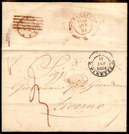 ANTICHI STATI ITALIANI - Toscana - 1856 (18 Agosto) - Livorno (doppio Cerchio Rosso) Annullato Con Muto A Sbarre (rosso) - Unclassified