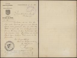Bataillon Allemand - Document Manuscrit (Sint-Jooris-Ten-Distel, Brugge) + Gepruft à Examiner ! - Army: German