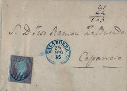 1855 LA RIOJA , CALAHORRA - CAPARROSO , 4 CUARTOS , ENVUELTA CIRCULADA , FECHADOR AZUL - Cartas