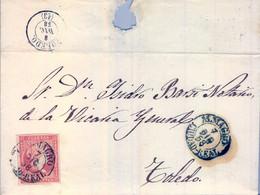 1858 CIUDAD REAL , ALMAGRO - TOLEDO , 4 CUARTOS , ENVUELTA CIRCULADA , MAT. FECHADOR - Briefe U. Dokumente