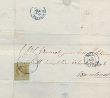 1861  SEVILLA , ÉCIJA - BARCELONA   , 4 CUARTOS, ED. 52 , ENVUELTA CIRCULADA , MAT. RUEDA DE CARRETA Nº 53 , RARA - Briefe U. Dokumente