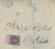 1862  ASTURIAS , VILLAVICIOSA - OVIEDO   , 4 CUARTOS, ED. 58 , ENVUELTA CIRCULADA , MAT. FECHADOR , BORDE SUPERIOR - Briefe U. Dokumente