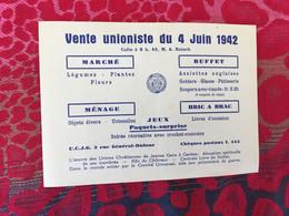 Scoutisme WW2-Vente Unioniste 4 Juin 1942 Affichette Propagande Publicitaire Scout  Militaria Guerre 1939-45-Vichy-culte - Historische Documenten